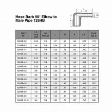 Pipe Elbow Size Chart Parker Hose Barb 90 Degree Elbow Pipe 3 4 Inch