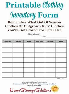 Free Clothes Sample Printable Clothing Inventory Form Kids Clothes Storage