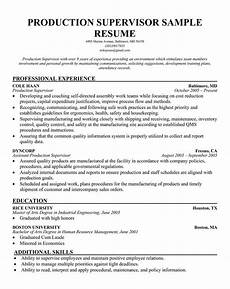 Production Supervisor Resume Samples Free Production Supervisor Sample Resume Manager Sample