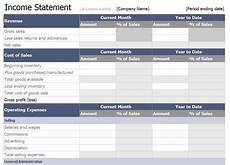 Income Statement Example Excel Excel Income Statement Template