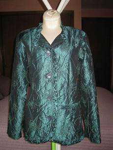 Norm Thompson Size Chart Norm Thompson Women S Embroidered Dark Green Shiny Crinkle