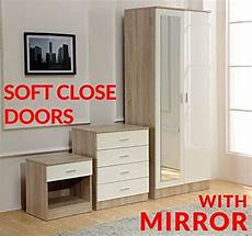 gladini high gloss mirrored 3 bedroom furniture set