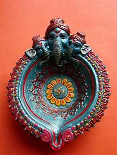 Designer Diyas Handpainted Ganesh Diwali Diya Diwali Diya Decoration