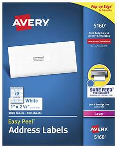 Address Labels Avery Avery Easy Peel Permanent Adhesive Address Labels White