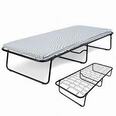 folding single guest bed mattress compact metal fold away