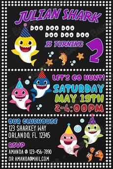 Baby Birthday Party Invitations Novel Concept Designs Baby Shark Doo Doo Doo