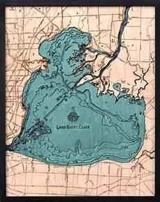 Great Straits Chart Bathymetric Map Lake St Clair Michigan Scrimshaw Gallery
