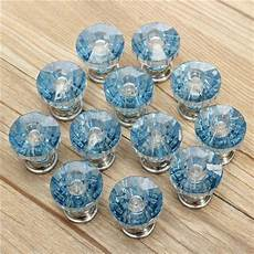12x blue shape glass cabinet knob cupboard