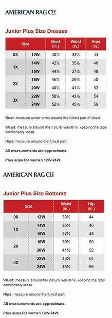 American Rag Size Chart Women S 1000 Images About Brand Name Plus Size Charts On