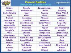 A List Of Characteristics Personal Qualities Personal Qualities English
