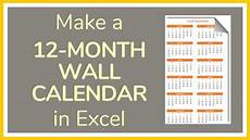 How To Make A 12 Month Calendar In Word How To Make A 12 Month Wall Calendar In Excel Tutorial