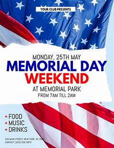 Memorial Day Flyer Memorial Day Weekend Flyer Template Postermywall