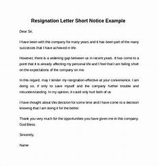 Example Of A Notice Letter Free 6 Sample Resignation Letter Short Notice Templates