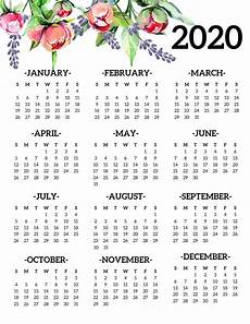 Yearly Calendar 2020 Printable Free Printable 2020 Calendar Yearly One Page Floral