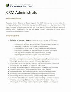 Medical Administration Job Description Crm Administrator Job Description