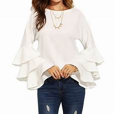 womens bell sleeve tops and blouses fashion flared bell sleeve casual solid tops