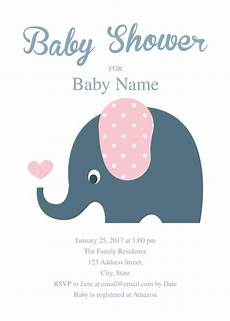 Baby Shower Invites Templates Word Cute Elephant Baby Shower Invitation Template Baby