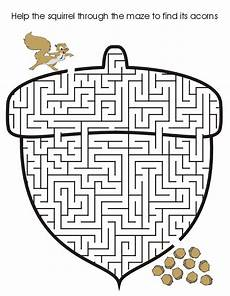 squirrel acorn maze fall activity printable mazes for