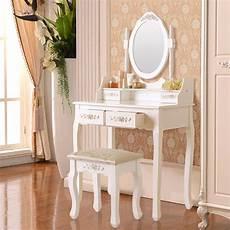 white vanity set makeup dressing table desk w stool drawer
