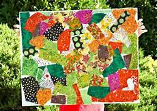 fall fabric scrap collage preschool arts crafts summer
