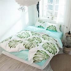 tropical plant big green leaves reversible duvet cover 100