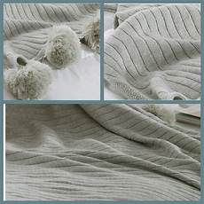 100 cotton knitted blanket woven sofa bed throw with pom