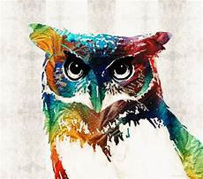 Colorful Owl Art Owl Art Print From Painting Cute Bird Colorful Fun Happy