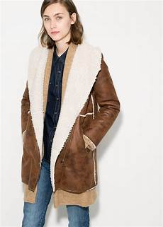 shearling coats for lyst mango faux shearling coat in brown