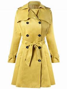 2018 breasted tie belt trench coat in yellow 2xl