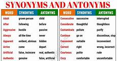 Synonym For Detail Oriented Synonyms And Antonyms Of 160 Common Words In English