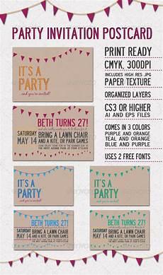 Invitation Postcard Template Party Invitation Postcard Graphicriver