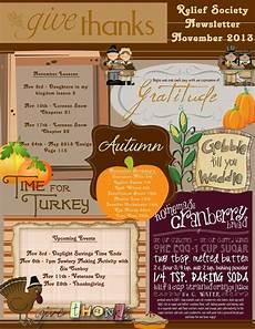 Thanksgiving Newsletter Template Free November Relief Society Newsletter Lds Relief Society