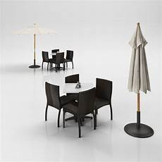 Bamboo Sofa Table 3d Image by Rattan Chairs Set With Table And Outdoor Umbrella 3d Model