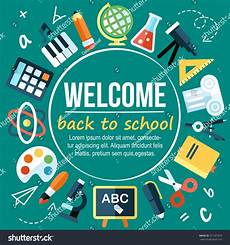 Welcome Back Poster Colorful Vector Welcome Back School Poster Stock Vector