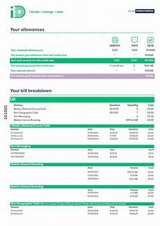 Sample Mobile Bill Understanding My Bill Help Amp Advice Id Mobile Network