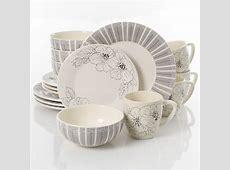 Laurie Gates Darey Court 16 Piece Dinnerware Set, Black/White