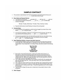 Simple Daycare Contract Sample Home Daycare Contracts Daycare Contract Home