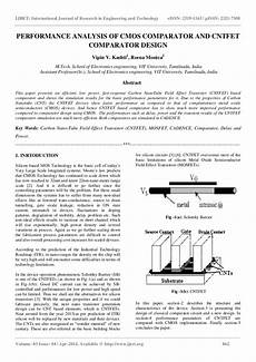 Cmos Comparator Design Project Performance Analysis Of Cmos Comparator And Cntfet