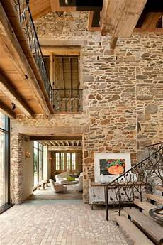 Interior Rock Wall Modern Redesign Of Country Home With Antique