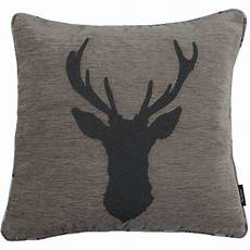 mcalister textiles charcoal grey tartan stag cushions
