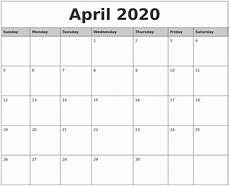 Monthly 2020 Calendar Printable April 2020 Monthly Calendar Printable