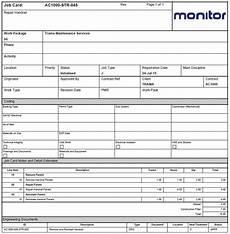 Maintenance Job Card Template Engineering Job Card Template Free Microsoft Excel