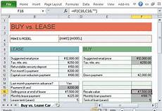 Rent Vs Lease Car Car Buy Vs Lease Calculator For Excel