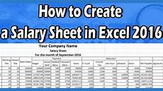 Salary Format Excel Sheet How To Make A Salary Sheet Using Microsoft Excel 2016