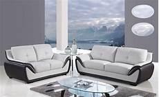 modern leather 3pc sofa set light grey black