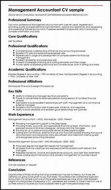 Sample Curriculum Vitae For Accountants Management Accountant Cv Example Myperfectcv