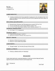 Resume Format Of Student Electronics Student Resume Format