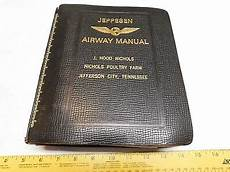 2 Vintage Jeppesen Leather Airway Manual Binder Charts