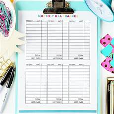 Budget Monthly Bills Monthly Bill Tracker Digital Download The Budget