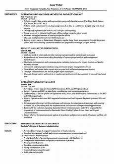 Project Analyst Resume Sample Operations Project Analyst Resume Samples Velvet Jobs